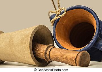 bois et argile - argile, artisanat, blanc, bleu, bois,...
