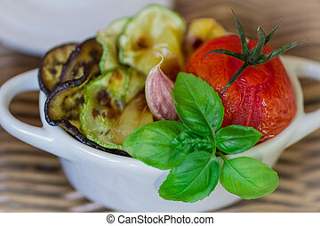 roasted vegetables - eggplant, zucchini, tomato, pepper and...