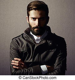 Portrait of handsome man with beard Fashion photo