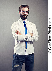 Portrait of handsome man with beard Fashion photo...