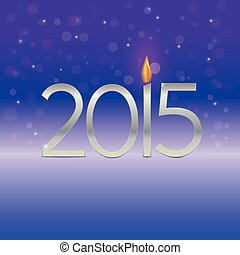 Happy new year 2015 card with candle flame - Happy new year...