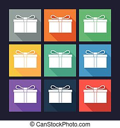 Gift box flat icons. Silhouette gift box with bow.