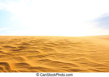Wave on desert and blue sky at Mui Ne sand dunes, South...