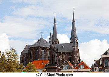 Oude Kerk (Old Church) in the city of Delft, Holland