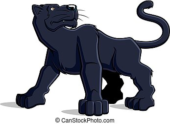 Black panther - Illustration of cartoon black panther on...