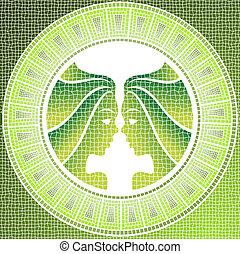 gemini - Element air: gemini zodiac sign on a mosaic