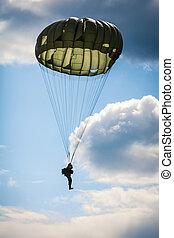 parachutiste, dans, les, war, ,