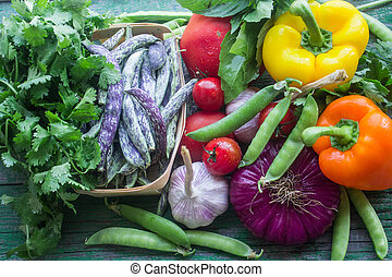 fresh vegetables from the garden - green beans, onions,...