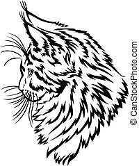 Maine Coon kitten profile - Vector illustrations of contour...
