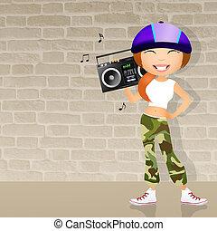 Hip Hop girl - illustration of Hip Hop girl