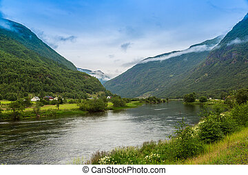 Sognefjord in Norway - View to Sognefjord in Norway. Country...