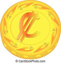 Colon coin - gold colon, metal colon, small change, pocket...