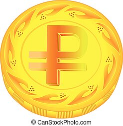 Ruble coin - gold ruble, metal ruble, small change, pocket...