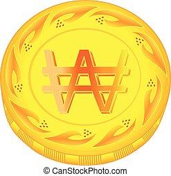 Won coin - gold won, metal won, small change, pocket money,...