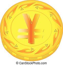 Yen coin - gold yen, metal pound, small change, pocket...