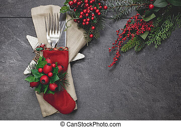 Christmas eve festive table place s - Christmas stocking...