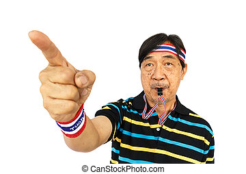 Thai man resist thai government (blow a whistle and wear wristband) on white background (isolated)