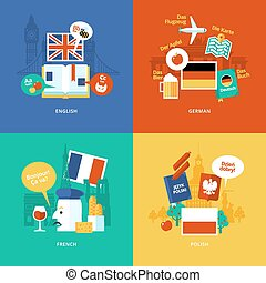 Set of flat design concept icons for foreign languages....