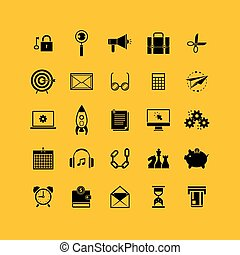 Black flat icons set. Business object, office tools.
