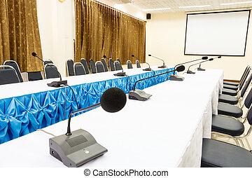 micrófonos, en, Un, conferencia, habitación,