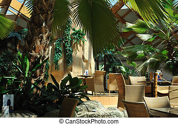 tropical restaurant indoor - beautiful caffe restaurant with...
