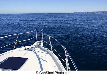 Boat bow, yatch vacation on the blue ocean - Boat white bow,...
