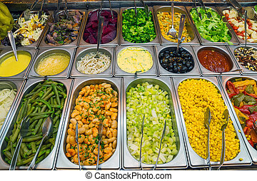Nice salad buffet in a restaurant - A nice salad buffet seen...