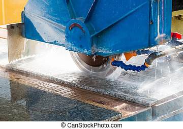 stone processing closeup , infrared ray electric column...