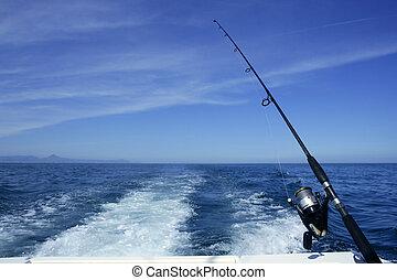 釣魚, 鞭笞, 卷起, 小船, 釣魚, 藍色, 海洋