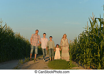 Family holding hands looking at sunset in field