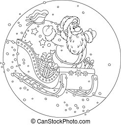Santa Claus sledding with gifts - Father Christmas sleighing...