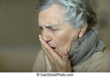 Sick elderly woman - Portrait of cute sick elderly woman...