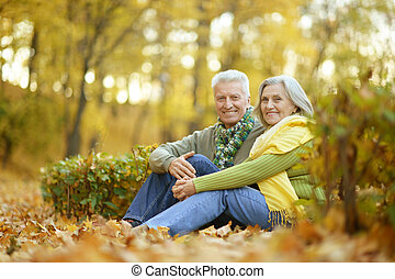 Elderly couple in the park - Beautiful caucasian elderly...