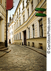 Empty street in the old center, Riga, Latvia