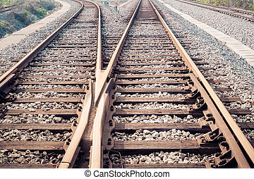 closeup of the railway track ,train line crossing