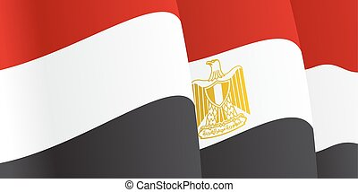 Background with waving Egyptian Flag. Vector illustration