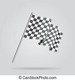 Waving Checkered racing flag. Vector - Waving Checkered...