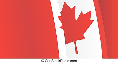 Background with waving Canadian Flag. Vector