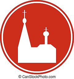 Orthodox church button on white background. Vector...