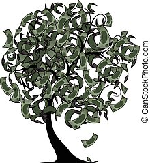 money tree with color dollars