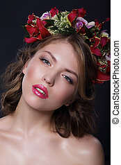 Portrait of Adorable Woman with Garland of Flowers