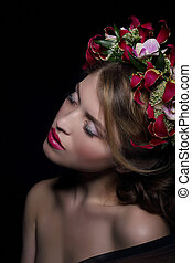 Elegance. Bliss. Dreamy Woman with Wreath of Flowers