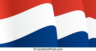 Background with waving Dutch Flag. Vector illustration