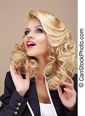 Astonishment. Surprised Blond Woman Looking Up