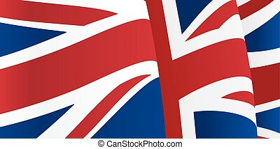 Background with waving Great Britain Flag. Vector