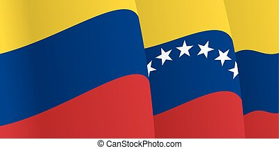 Background with waving Venezuelan Flag. Vector illustration