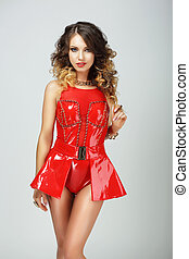 Seductive Fashion Model in Red Showy Dress