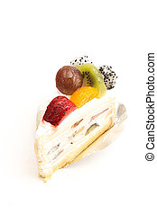 White cream cake with mixed fruity  on white background.