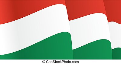 Background with waving Hungarian Flag. Vector illustration