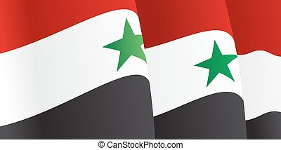Background with waving Syrian Flag. Vector illustration